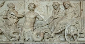 Amphitrite - Sea thiasos depicting the wedding of Poseidon and Amphitrite, from the Altar of Domitius Ahenobarbus in the Field of Mars, bas-relief, Roman Republic, 2nd century BC