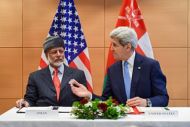 Secretary Kerry Chats With Omani Foreign Minister bin Alawi Before Signing Memorandum of Agreement on Sidelines of World Economic Forum in Switzerland (24244176170).jpg