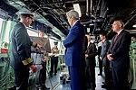 Secretary Kerry Receives a Briefing on the Bridge of the USS San Antonio (22307198173).jpg