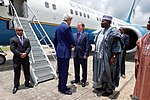 Secretary Kerry Shakes Hands With U.S. Embassy Abuja Deputy Chief of Mission David Young After Arriving at Nnamdi Azikiwe International Airport in Abuja (28558934473).jpg