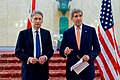 Secretary Kerry and British Foreign Secretary Hammond Deliver Press Statement in London (24184253523).jpg