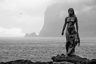 Selkie - Statue of the selkie in Mikladalur