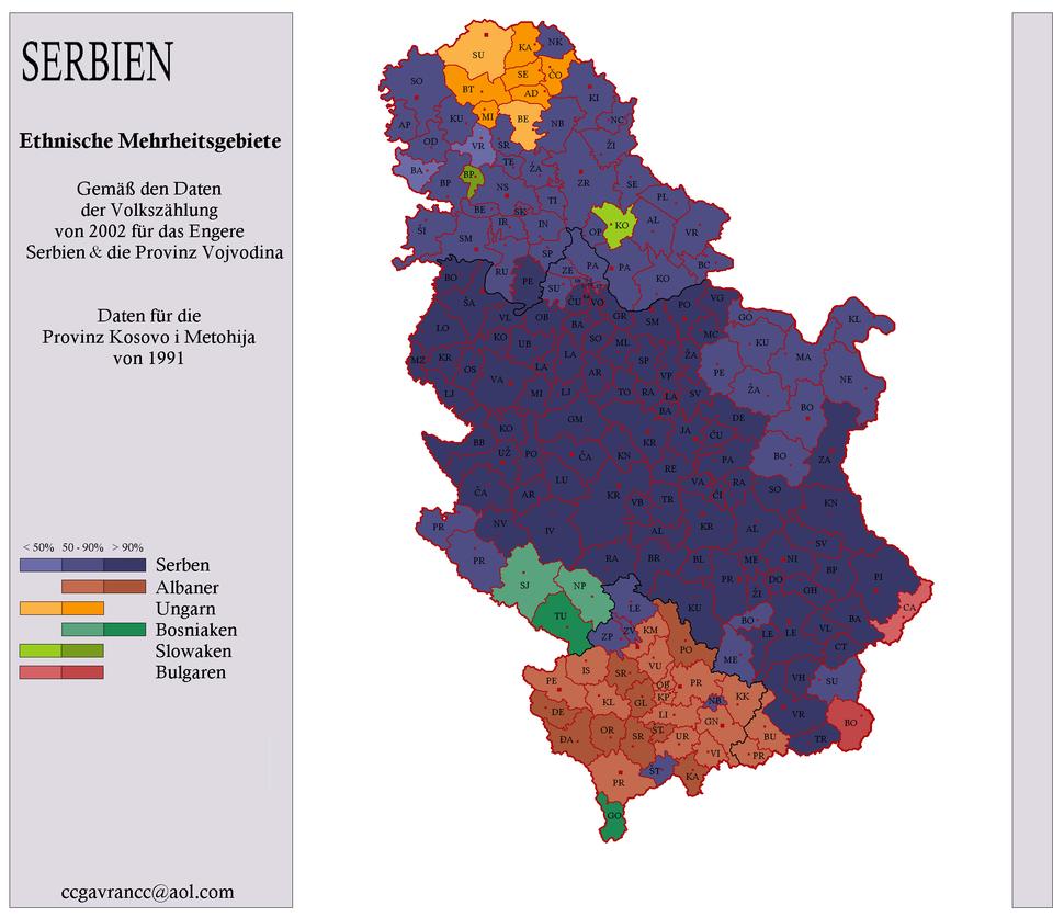 Serbien Ethnizitäten