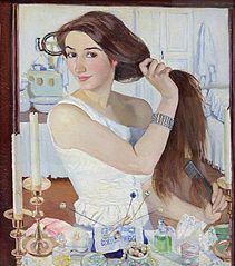 At toilet. Self-portrait