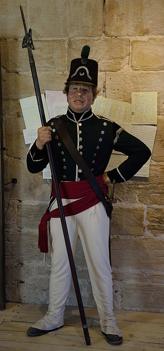 Militia and Volunteers of Northumberland - Mannequin in the uniform of a Sergeant Major of the Percy Tenantry Volunteers. From the Percy Tenantry museum, Alnwick Castle.