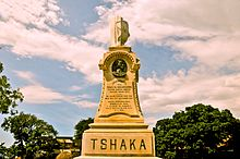 "Engraved ""Tshaka"" monument in park"