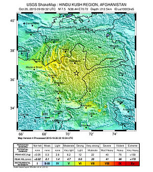 October 2015 Hindu Kush earthquake - USGS ShakeMap of the earthquake