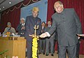 Sharad Pawar lighting the lamp at the inauguration of the Conference of Animal Husbandry Dairy and Fisheries Minister of North Eastern State, at Gangtok. The Governor of Sikkim, Shri Shriniwas Patil is also seen.jpg