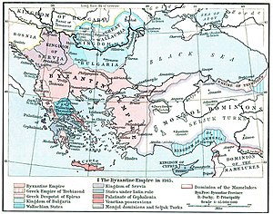 Despotate of the Morea - The Byzantine Empire and the Latin and other states resulting from the Fourth Crusade, as they were in 1265. The Byzantine province of the Morea is also shown. (William R. Shepherd, Historical Atlas, 1911).