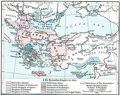 Το Δεσποτάτο της Ηπείρου και τα άλλα κράτη που προέκυψαν από τη Βυζαντινή Αυτοκρατορία, όπως ήταν κατά το 1265 (William R. Shepherd, Historical Atlas, 1911