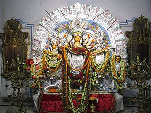 Barowari - The Durga Idol of the Shobhabazar Rajbar.
