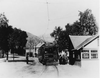 Sierra Madre (Pacific Electric) - Sierra Madre 1908 with PE line Depot and the Hotel Shirley in background