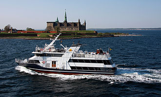 HH Ferry route - Sundbus Pernille during the short time she served ACE-link. In the background Kronborg Castle