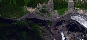 Silverthrone Caldera - Satellite image of a postglacial lava flow