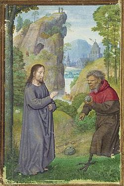 The Foreground Shows First Temptation With Devil Offering A Stone To Be Turned Into Bread In Background Other