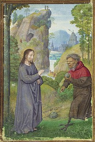 Temptation of Christ - 16th century master illuminator Simon Bening's depiction of Satan approaching Jesus with a stone to be turned into bread