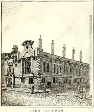 Sion College - Sion College, 1791 engraving by John Thomas Smith.