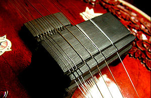 Jivari - The Javari of a sitar, made from ebony, showing graphite marks from the first two strings