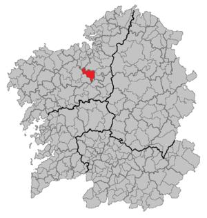 Mesía - Location of Mesía in Galicia.
