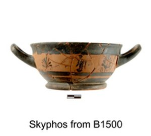 Azoria - Black-figure skyphos (drinking cup) from a kitchen in the Service Building
