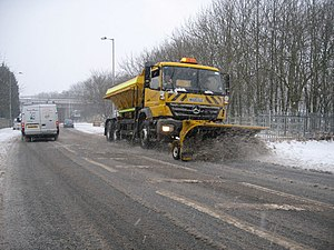 English: Snow Plough on Grane Road A snow plou...
