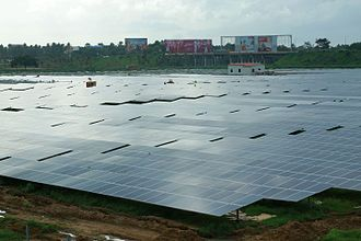 Airport - Solar panels at the international airport at Kochi, India, the world's first airport to be fully powered by solar energy.