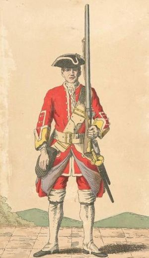 38th (1st Staffordshire) Regiment of Foot - Soldier of 38th regiment, 1742