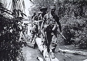 "Battle of North Borneo - Labuan, 15 June 1945. Members of a patrol from ""A"" Company, Australian 2/43rd Infantry Battalion, disembark from a boat and walk along a large fallen tree, as they move inland to investigate reports of Japanese activity."