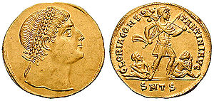 """An example of """"staring eyes"""" on later Constantine coinage."""