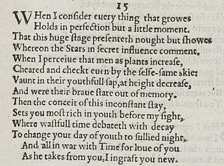 Sonnet 15 poem by William Shakespeare