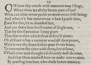 Sonnet 39 poem by William Shakespeare