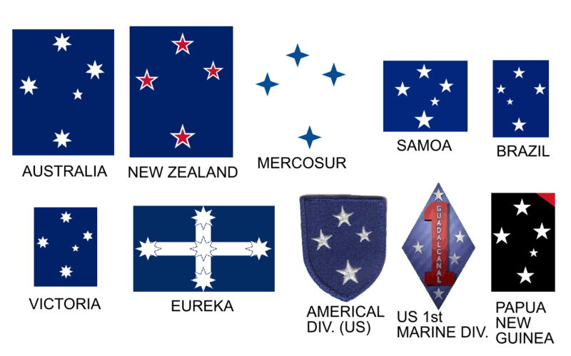 Picha:Southern cross appearing on a number of flags.PNG