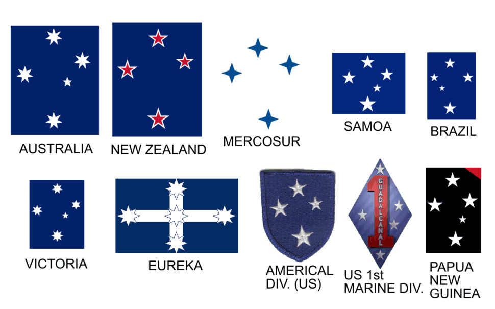 Southern cross appearing on a number of flags