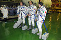 Soyuz TMA-15M crew during the 'fit check'.jpg