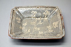 Shino ware - Nezumi-Shino ware, square dish with autumn grasses design, Azuchi-Momoyama to Edo period, 16th-17th century