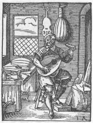 Der Lautenmacher (The lute maker) by Jost Amman