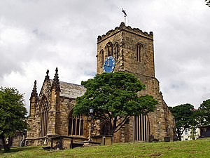 Great Siege of Scarborough Castle - St. Mary's Church near the castle was on the front line of the civil war siege, sustaining extensive damage from both sides' fire. One side of the church remains a ruin.