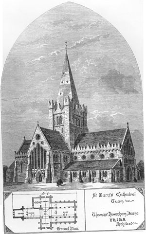 Diocese of Tuam, Killala and Achonry - An engraving of St Mary's Cathedral, Tuam, as rebuilt in the 1870s and completed in 1878.