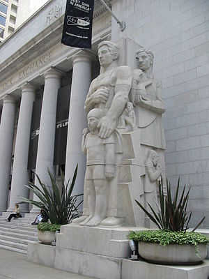 Ralph Stackpole - Site placement of Industry (1932) shows its position at the right of the former San Francisco Stock Exchange building.