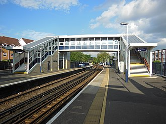 Staines railway station - The station platforms looking east, and showing the new footbridge.