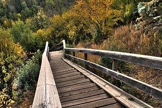 North Saskatchewan River valley parks system - Wooden stairs into the river valley