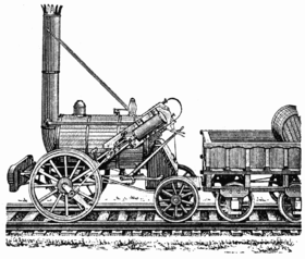 La locomotiva Rocket in una stampa d'epoca