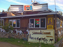 The Steese Roadhouse is a bar, general store, and gas station in Central that serves as a midway point for the Yukon Quest.