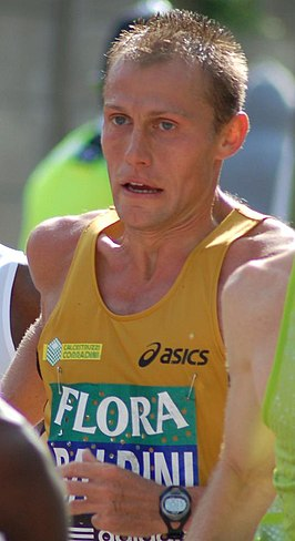 Stefano Baldini tijdens de London Marathon in 2008.