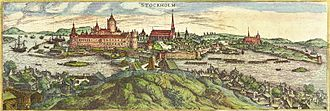 Saint James's Church, Stockholm - The western gable of the medieval church is still present on the extreme left of this view of Stockholm from around 1580. Copperplate by Frantz Hogenberg.