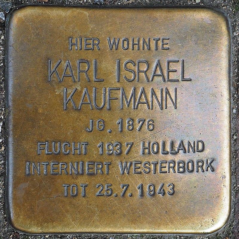 Stolperstein Geldern Hartstraße 2 Karl Israel Kaufmann