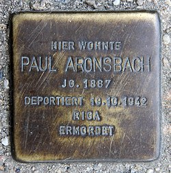 Photo of Paul Aronsbach brass plaque