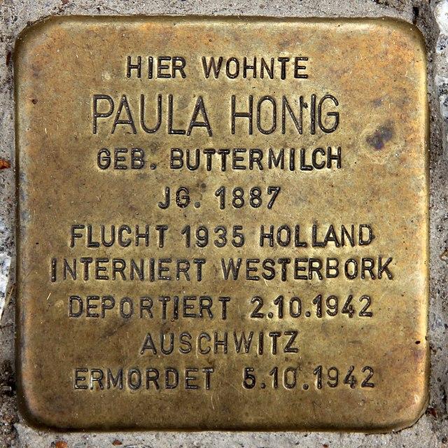 Photo of Paula Honig brass plaque