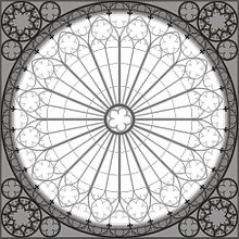 Architectural Drawing Of The Rose Window Strasbourg Cathedral