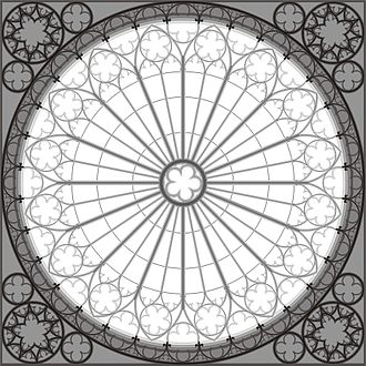 Rose window - Architectural drawing of the rose window of Strasbourg Cathedral